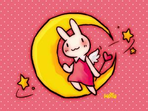 恋するうさぎが月にいるよ(壁紙サイズ1024*768)